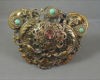 Huge Art Nouveau Double Layered Repousse Brooch
