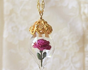 ON SALE Magenta Pink Peony Flower Terrarium Glass Vial Necklace - 14kt. Gold Fill by Woodland Belle