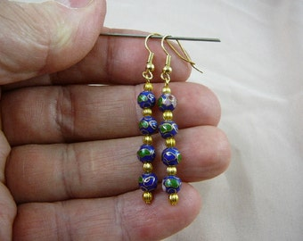 Blue with pink flower 6 mm round Cloisonne four bead gold dangle earring pair EE-600-62