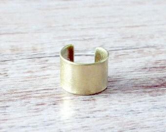 Minimalist Gold Ear Cuff - Gold Ear Cuff - Simple Ear Cuff - Simple Gold Ear Cuff - Nonpierced Ear Cuff - Brass Ear Cuff - Shiny Ear Cuff