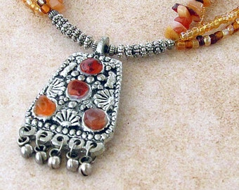 Layered Bohemian Necklace, Layered Gemstone Necklace, Boho Gemstone Necklace, Long Layered Necklace, Gemstone Necklace, Silver Pendant, Boho
