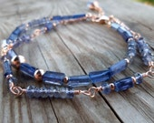 Reserved for Lorrie Double Strand Iolite Gemstone and Rose Gold Wire Wrapped Gemstone Bracelet