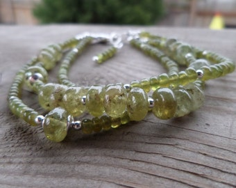 Reserved for Diane Natural Vessonite Green Garnet and Sterling Silver Gemstone Triple Strand Birthstone Bracelet