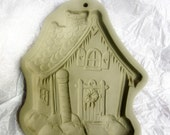 Gingerbread House, Vintage, Retired, Brown Bag Cookie Art, Stamp, Mold, 1989 Hill Design, Mould, dough, clay, art, polymer, paper mache