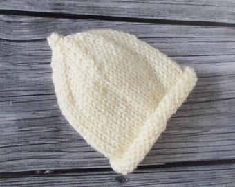Premature Baby Beanie, 3 to 5 pounds, Ready To Ship, Hand Knit Newborn Baby Hat, Coming Home Hospital Hat, Preemie Size Pixie Hat, Baby Cap