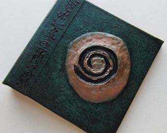 Handmade Refillable Journal Green Spiral  4x4 OOAK Original