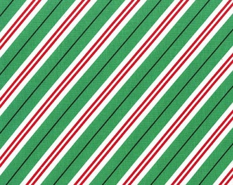 Candy Cane Stripe Evergreen Michael Miller Christmas Fabric