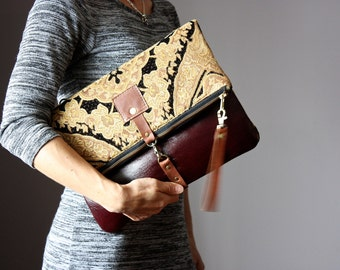 Carpet leather bag, Large Leather foldover clutch, Marbled Brown leather bag, tapestry fabric and  leather clutch, wrist strap
