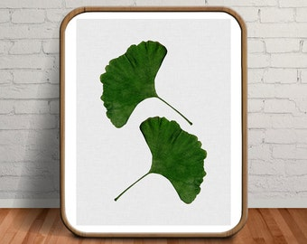 Leaves Painting, Leaf Wall Art, Ginkgo Leaf Print, Gingko Leaf Painting, Green Botanical Print, Leaf Botanical Art, Botanical Watercolor