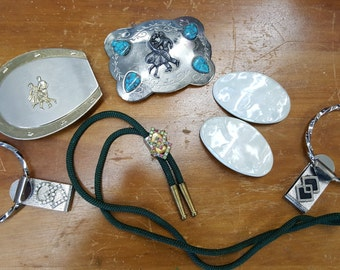 Vintage Square Dancing Buckles Bolo Shoe Clips Belt Hangers/Rhinestone/Nickle Silver/Turquoise from Rustysecrets