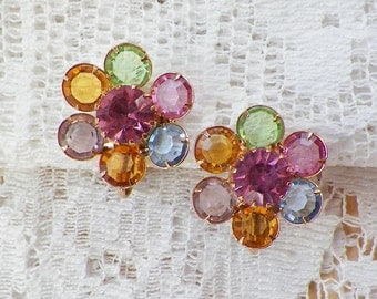 Vintage Bezel Set Glass Pastel Colored Flower Earrings, Pink Rhinestone Centers, Clip On / Clip Ons
