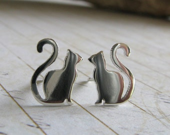 Cat stud earrings. Kitty posts in sterling silver or 14k gold. Long curly tail. Handmade jewlery for cat lady.
