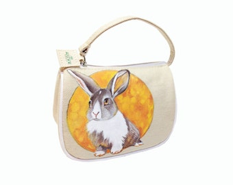 Vegan Voyager Rabbit & Moon cosmetic bag - handpainted, upcycled, one of a kind