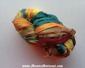 Recycled Sari Silk Ribbon, Chunky Art Yarn. Silk Ribbon Yarn, Sari Ribbon, Jewel Toned Multi Colored Yarn, Recycled Silk Yarn, Craft Ribbon