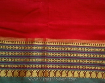 Red Saree Indian Fabric By The Yard, Sewing Fabric, Quilting Fabric, Dressmaking Fabric, Cotton Sari Fabric, Indian Fabrics, Ethnic Fabric