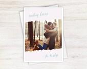 Pastel Kisses Pink Valentine's Day Artsy Custom Photo Holiday Card