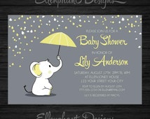 Yellow elephant Baby Shower Invitation, umbrella, rain, baby sprinkle, unisex, baby elephant, gray, custom invite, digital file, you print