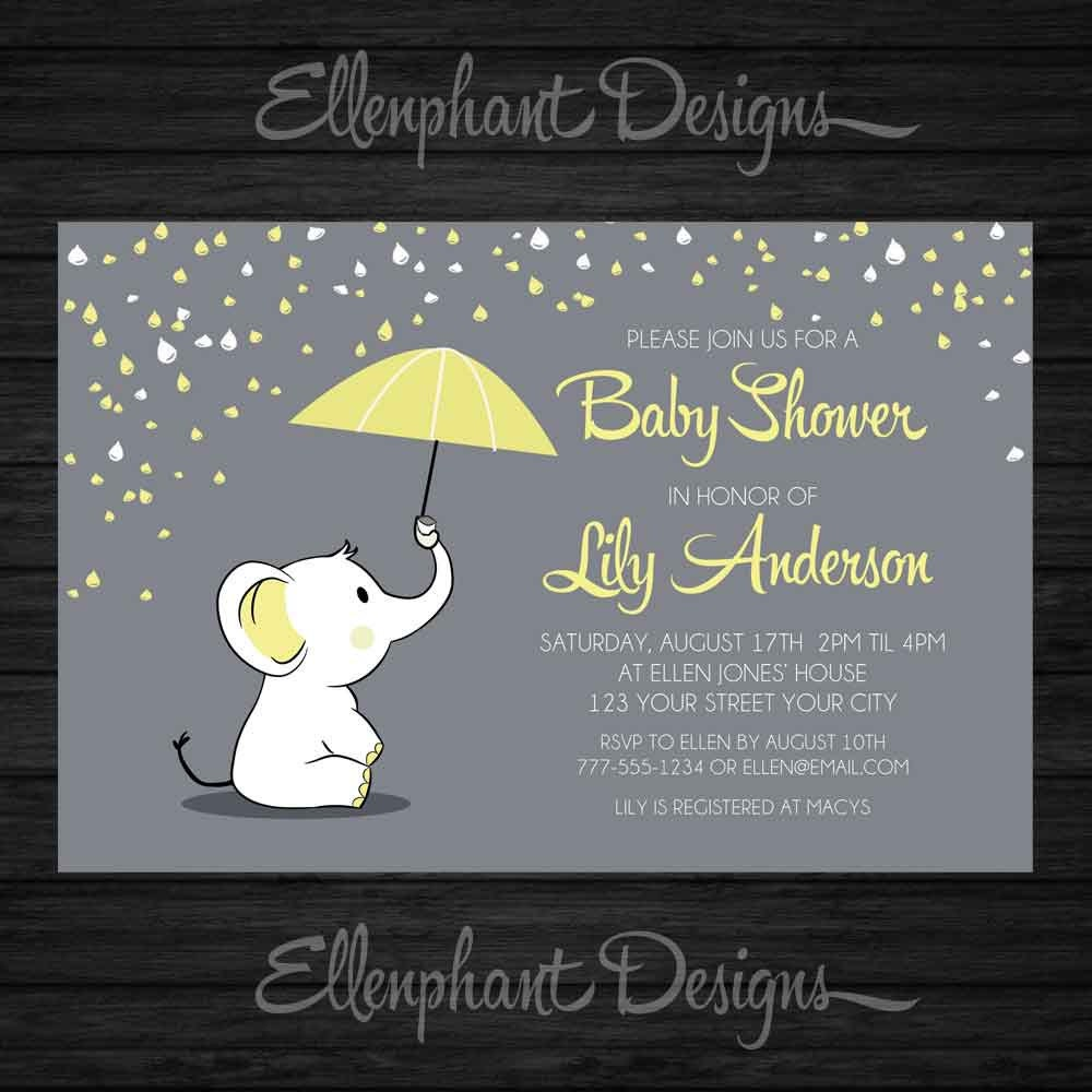 yellow elephant baby shower invitation umbrella rain baby, Baby shower invitations