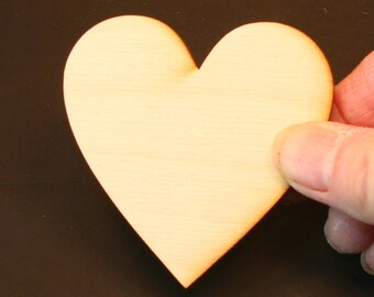 Unfinished Wood Heart - 2-1/2 inches by 2-1/2 inches and 1/4 inch thick wooden shape (HART09B)