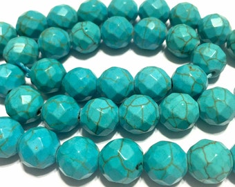 "Magnesite faceted round 10mm round beads whole 15"" strand"