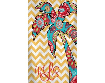 Custom Personalized Beach Towel -  Chevron & Gypsy paisley Palm Tree - Color and Personalization of your choice