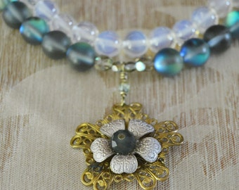 MoonBeam-Vintage Brass Moonstone and Glass Double Strand Necklace