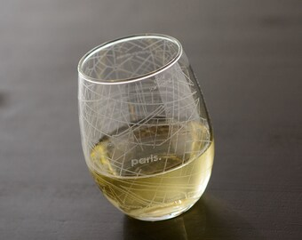 Paris Maps Stemless Wine Glass