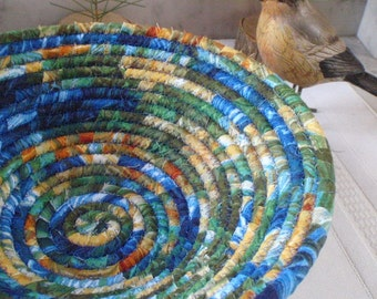 Cobalt Blue, Green and Golden Tan Coiled Fabric Basket - Catchall, Organizer, Handmade by Me