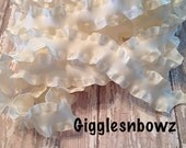7/8 inch DOUBLE RUFFLE Satin Ribbon- Ivory Ruffle Ribbon Great for Hair bows Scrapbooking Crafts- Ribbon by the Yard