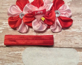 DIY Headband Kit- Valentines Day Headband Kit- Makes 1 headband, Do it Yourself- Feltie Headband- Baby Headband Kit- DIY Supplies