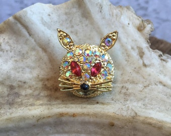 Vintage Gold Rhinestone Bunny Brooch