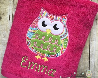 Owl Applique Beach Bath Towel - Personalized, Monogrammed