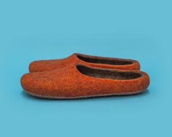 "Smoky Orange"" Hand felted wool slippers by Onstail"