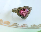 Antique Art Deco Brass Heart Shapped Ring Red/Pink Glass Stone