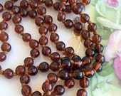 """Antique Art Deco Brown Amber Glass Beaded Necklace Hand knotted 56"""""""