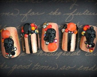 Bejeweled Halloween Fake Nails, Orange and Black, Costume, False Nails, Press On Nails, Halloween Costume Nail Art, Skull Nail, Acrylic Nail