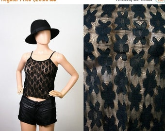 Vintage 90s Black Sheer Lace Cami Top / 1990s Camisole / Club Kid Flower Power / Hippie Festival Shirt / Grunge / Extra Small / Small