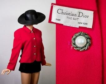Vintage Christian Dior Jacket / 80s Barbie Pink Blazer / 1980s Iconic Structured Power Blazer Bold Wool Top / Fuchsia Medium / Large
