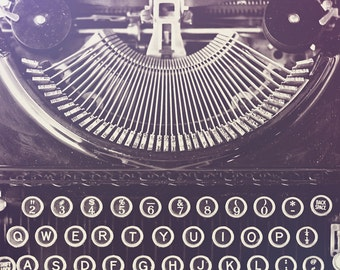 Typewriter Photograph - Black and White Photography Home Decor Print