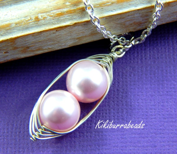 Peas in a Pod, Two Peas In A Pod Necklace,  Pink Swarovski Pearls