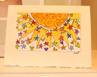 "Big Sun Lots Of Love Watercolor Original ""Big Card"" 5x7 With Matching Envelope  betrueoriginals"