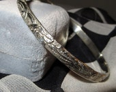 Artisan Wave Modernist Sterling Silver Bangle Bracelet