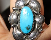 Native American Blue Turquoise Ring Sterling Silver Size 8 1/4