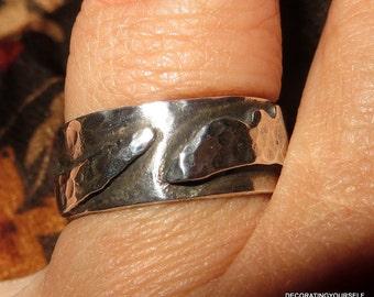 Sterling Silver Artisan Brutalist Ring Size 8