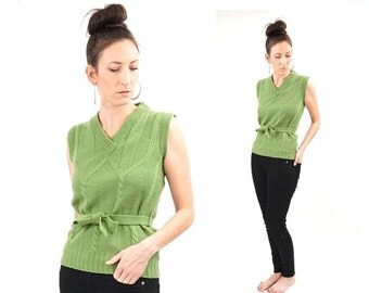 FLASH SALE vintage 70s MOSS green Belted sleeveless sweater M