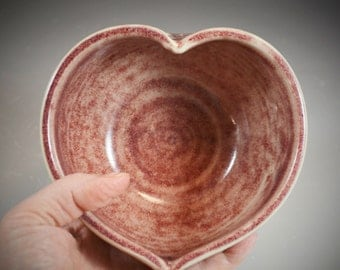 Textured Heart Shaped Wheel Thrown Bowl in Red Oxblood Glaze- ready to ship in time for Valentines Day!