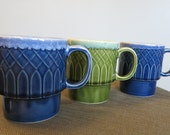 Set of Three Vintage Blue and Green Coffee Cups -   V151