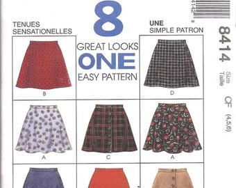 McCall's 8414 Girls  Pull on Skirts 8 Designs  Size 4-5-6   Uncut New