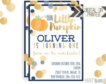Pumpkin Invitation | Digital or Printed | Pumpkin Party | Glitter Pumpkin Invite | Boy Pumpkin | Gold Glitter Invitation | Little Pumpkin