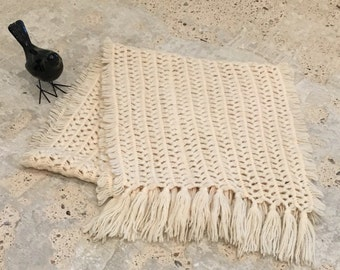 """Loose Weave Knitted Shawl - Off White Ecru Cream Colored - Fall Winter Accessory - Shawl Scarf to Cover Shoulders - Fringe Shawl - 81"""" Long"""